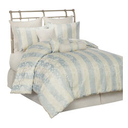 Pem America - Aqua and Ivory Floral Stripe King 10 Piece Comforter Set - Stripes of aqua and soft ivory create the base for this luxurious comforter set. An intricate floral overlay finishes the design making it the final touch for your traditional bedroom decor. Includes 1 king comforter (108x90), 1 king coverlet (100x90), 2 euro shams (26x26), 2 standard shams (20x26), bed skirt (78x80, 15 inch drop), 1 neckroll (6x16), 1 square pillow (16x16, and 1 breakfast pillow (12x16). 100% hypoallergenic polyester face and fill. Dry clean only.