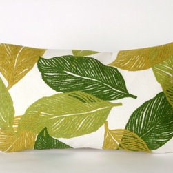 """Liora Manne - Mystic Leaf Rectangle Indoor/Outdoor Pillow in Green - Features: -Color: Green. -Content: 100% Polyester Microfiber. -Backing: 100% Polyester. -Handmade. -Indoor/Outdoor and antimicrobial. -Removable cover can be hand-washed. -Shape: Rectangular. -Easy care and maintenance. -Combines intricate hand crafting with modern technology. -Dimensions: 12"""" H x 20"""" W x 5"""" D, 2 lbs."""