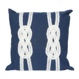 Double Knot Navy Pillow - The highly detailed painterly effect is achieved by Liora Manne's  patented