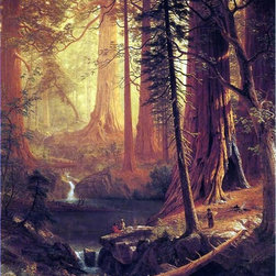 """Albert Bierstadt Giant Redwood Trees of California - 16"""" x 20"""" Premium Archival - 16"""" x 20"""" Albert Bierstadt Giant Redwood Trees of California premium archival print reproduced to meet museum quality standards. Our museum quality archival prints are produced using high-precision print technology for a more accurate reproduction printed on high quality, heavyweight matte presentation paper with fade-resistant, archival inks. Our progressive business model allows us to offer works of art to you at the best wholesale pricing, significantly less than art gallery prices, affordable to all. This line of artwork is produced with extra white border space (if you choose to have it framed, for your framer to work with to frame properly or utilize a larger mat and/or frame).  We present a comprehensive collection of exceptional art reproductions byAlbert Bierstadt."""