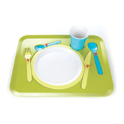 Royal VKB - Royal VKB Child Puzzle Dinner Tray - Don't play with your food… how many times did we hear our parents saying this as a child? Royal VKB's Puzzle Dinner Tray allows children to play with their food again The tray is intended to make children aware of the correct table setting as early as possible, a simple and amusing way for children to learn. The tray includes a knife, fork and spoon, as well as a plate and tumbler. The tray is made of melamine and stands firm on non-slip feet. Manufactured by Royal VKB.