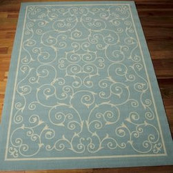 """Nourison - Nourison Home and Garden RS019 7'9"""" x 10'10"""" Light Blue Rug - Add some excitement to any surrounding with these magnificent indoor/outdoor rugs. Floral, scrollwork, and animal-skin patterns in vivid color make this a truly eye-catching collection. These versatile rugs are beautiful to look at, soft to walk on, easy to clean by just hosing down and can withstand almost all outdoor conditions. Indoor or Outdoor Uses UV Protected Mildew Proof Fade Resistant Easy Clean: Just Rinse with a Hose"""