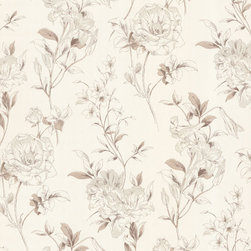 Jolie Beige Floral Toss Wallpaper. - This romantic wallpaper flourishes a vintage toile pattern with modern scale in supple taupe and pearl.