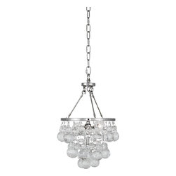 Robert Abbey - Bling Chandelier, Polished Nickel - Like a little bunch of glass grapes dangling from a vine, you can hang this contemporary chandelier from above and behold the cluster of bling. Gussy up any gathering place and toast the times with gusto.