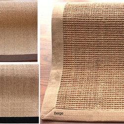 Handmade Alexa Eco Natural Fiber Cotton Border Sisal Rug - Soften wood floors with sisal rugs.