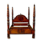 EuroLux Home - New King Bed Mahogany Marquetry Cameo Arched - Product Details
