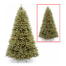 10 Ft. Feel Real Douglas Fir Christmas Tree w/ 1000 Dual LED Lights - Measures 10 feet tall with 78 inch diameter. Features FEEL-REAL branch tip technology for remarkable realism! Pre-lit with 1000 UL listed, pre-strung Dual-Color Low-Voltage LED lights. Lights change from warm white to multicolor with the press of a foot switch. Switch controls 9 light and color actions. LED bulbs are energy-efficient and long lasting. Tip count: 3933. All metal hinged construction (branches are attached to center pole sections). Comes in four sections for quick and easy set-up. Includes sturdy folding metal tree stand. Light string features BULB-LOCK to keep bulbs from falling out. Fire-resistant and non-allergenic. Includes spare bulbs. 5-year tree warranty / 3-year lights warranty. Packed in reusable storage carton. Assembly instructions included.