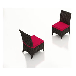 Forever Patio - Capistrano Modern Patio Dining Side Chair, Flagship Ruby Cushions - With its stylish curves and modern design, the Forever Patio Capistrano Rattan Patio Dining Side Chair with Red Sunbrella cushion (SKU FP-CAP-DSC-MC-FF) creates a luxurious dining experience. The mocha resin wicker is UV-protected and features dual tones that give it a more natural look, suiting a wide range of outdoor decor schemes. This dining chair includes a fade- and mildew-resistant Sunbrella cushion, available in a wide selection of colors. With so many options, you are sure to find that perfect look for your patio.