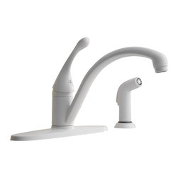 Delta - Classic Single Handle Kitchen Faucet with Side Spray - Delta 440-WH-DST Classic Single Handle Kitchen Faucet with Side Spray and Diamond Seal Technology in White. Innovative technology meets great design in the Collins kitchen faucet.  Its sleek design with the charm of simplicity complements any kitchen environment, making it a beautiful choice for your home.  The Collins Collection includes Delta's exclusive DIAMOND?� Seal Technology which uses a valve with a tough diamond coating to bring you a faucet built to last up to five million uses.  Plus, it keeps water inside the faucet out of contact with potential metal contaminants.  This Collection delivers a high level of durability and performance that can be trusted for years to come.Delta 440-WH-DST Classic Single Handle Kitchen Faucet with Side Spray and Diamond Seal Technology in White, Features:Diamonds are the hardest substance known to man, and DIAMOND?� Seal Technology takes full advantage of this property. Delta's exclusive DIAMOND?� Seal Technology uses a valve with a tough diamond coating to bring you a faucet built to last up to 5 million uses � plus it keeps water inside the faucet out of contact with potential metal contaminants.