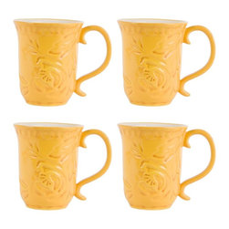 Fitz and Floyd - Fitz and Floyd Flower Market Mugs - Set of 4 - FITZ126 - Shop for Mugs from Hayneedle.com! Whether you're drinking Irish breakfast tea or Italian coffee each day starts - and ends - better with the cheerful rustic style of the Fitz and Floyd Flower Market Mugs Set of 4. Crafted from high-quality stoneware that's safe for both microwave and dishwasher this four-mug set features a hand-pressed floral surface texture that's given multiple layers of vibrant glaze in a sunny Naples yellow.About Fitz and FloydFitz and Floyd is recognized worldwide as a leader amongst the style- and quality-conscious. For 50 years their unique designs have made them the leader in the purveyor of hand-painted ceramic dinnerware tableware accessories giftware and collectibles. All Fitz and Floyd pieces are easy to spot. Each piece is distinctively hand-crafted by artisans from the drawing board to the sculpting wheel and kiln.The company's Dallas-based studios are renowned for producing over 500 unique designs per year. Creations range from presidential dinnerware for the White House or a tea service for Her Majesty Queen Elizabeth II to the perfect centerpiece for your table and each design is lovingly crafted in the highest quality. Meticulous craftsmanship and exquisite detail make every Fitz and Floyd piece a treasured heirloom-quality gift.