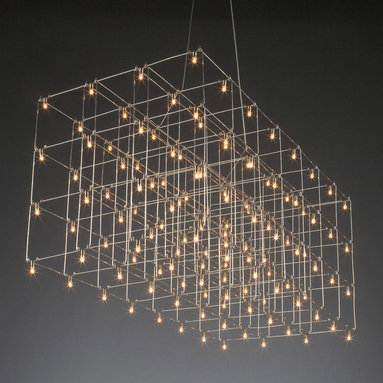 Universe LED Square Suspension by Lightology Collection - The Universe LED Square Triple and Double Suspension lamp features nickel finish with interwoven shafts that glitter when illuminated. Triple version features three rows and includes one hundred twenty eight 0.3 watt 12 volt LED lamps totaling 30.7 watts and measures 15.9 inches wide x 34.3 inches long x 14.7 inch height.  Double version features two rows and includes ninety six 0.3 watt 12V LED lamps totaling 23 watts and measures 15.9 inches wide x 34.3 inches long x 9.8 inches high.  Both the triple and double have a maximum overall height of 78.7 inches.  Designed by Jan Pauwels.