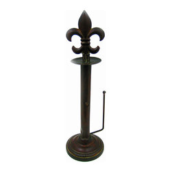 Zeckos - Metal Fleur De Lis Standing Paper Towel Holder - This beautiful antiqued bronze colored fleur de lis standing countertop paper towel holder is a wonderful addition to retro kitchens. The paper towel holder is 20 3/4 inches high, and 6 inches in diameter. The fleur de lis unscrews to accept rolls of paper towels.
