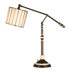 "Meyda Tiffany - 24-37""H Revolution Swing Arm Desk Lamp - David Land is, renowned designer, takes copper foiled stained glass a step beyond the ordinary. This classic modern architectural swing arm desk lamp, with Beige glass and Mahogany Bronze finish was designed for today's lifestyle."