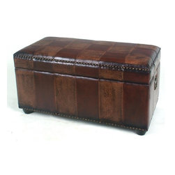 International Caravan - Bench Trunk w Lid and Ball Feet in Mix Pattern - Mix Pattern. Made of faux leather. Opens up to an enormous trunk for bedroom or house storage. Lined interior. Interior Dimensions: 36 in. L x 19 in. W x 11 in. H. Outer Dimensions: 38 in. L x 20 in. W x 19 in. H