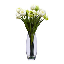 Nearly Natural - Tulip with Vase Silk Flower Arrangement - Stately and proud, this incredible tulip arrangement will be a focal point of your decor for years to come. A bevy of tulip stalks rest in a clear vase (complete with liquid illusion faux water), providing the perfect base for the delicate blooms above. Verdant leaves complete the picture, giving this tulip arrangement a distinct look that will stand the test of time. Perfect for home, office, or even makes a great gift.