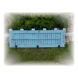 Repurposed Vintage Window Shutter Coat  / Towel Rack -