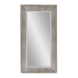 Bassett Mirror - Large Antique Silver Rectangle Wall Mirror - Antique Silver Beaded Finish - Rectangle. Measures: 36 in. W x 48 in. H.