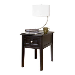 "Signature Design by Ashley - 24.13"" Height x 18"" Width x 24"" Depth Henning - The Henning table is designed with the classics in mind. Its nearly black finish paired with a nickel knob match just about any decor. Function, simplicity, and style all in one!"