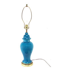 "Turquoise Ginger Jar Lamp - Turquoise ceramic ginger jar lamp with crackle glaze and brass fittings. Original wiring in working condition, uses 1 standard 3-way bulb up to 150W. Original UL certification label attached. No makers marks. Socket; 21.5""H."