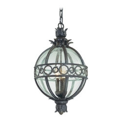 Outdoor Hanging Light with Clear Glass in Campanile Bronze Finish -