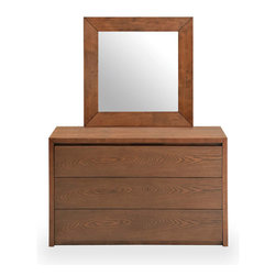 Bryght - Felton Cocoa Dresser And Mirror - Classic with simple elegant lines, the Felton dresser comes with 3 drawers to meet your bedroom storage and organizational needs..