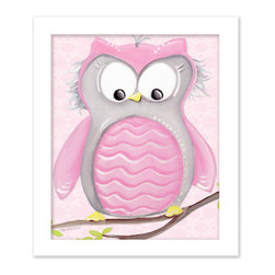 "Doodlefish - Olive Owl on Pink in White Raised Frame - 15""x18"" Framed Giclee of a happy pink and grey owl on soft aqua or pale pink background with a vine pattern. Artwork is available in various frame choices."
