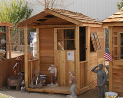 Cedarshed Gardeners Delight Shed - This is the perfect potter's shed. On top of a good sized interior, it has a front porch that's great for storing tools you use every day.