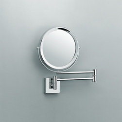 Modo Bath - Smile Magnifying Makeup Mirror 5x/1x - Smile 282 Magnifying Makeup Mirror 5x/1x reversible Magnification Mirror Magnifying, 5x Magnification, 1x Magnificaiton on Reverse Side Extending Arm Swiveling Base Polished Chrome Finish, Made of Solid Brass, Made in Germany