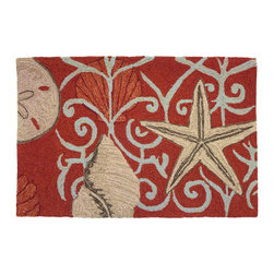 Homefires - Neptune Rug - An unusual take on a beachy underwater theme, the unlikely persimmon red background highlights the oversized starfish and shells. The Middle Eastern designs add more intrigue to an already unique accent rug, which ironically would sit well next to a fireplace.