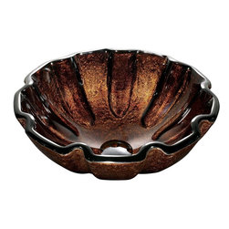 Vigo - Vigo Walnut Shell Tempered Glass Vessel Sink, Brown (VG07038) - Vigo VG07038 Walnut Shell Tempered Glass Vessel Sink, Brown