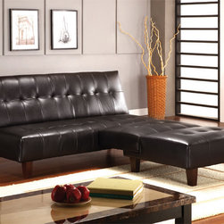 Furniture of America - Furniture of America Peyton 2-piece Sofa/ Sofa Bed and Chair Set - A modern leather sofa and chair set that is comfortable and sleek too? Most people wouldn't believe it. The dark espresso wood and leather couch is sturdily constructed and the comfort of the cushions are at-home in the coziest of living rooms.
