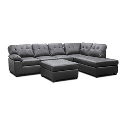 "Wholesale Interiors - Mario Brown Leather Modern Sectional Sofa with Ottoman - Plush, posh, and peerless, our Mario Designer Sectional leaves a lasting impression in any home. This three-piece sofa, chaise, and ottoman set is made with dark brown bonded leather over comfortable foam cushioning on a wooden frame. The sofa and chaise secure to one another with an attached metal bracket, making carefree lounging even easier. Though the seat cushions are sewn to the sectional's frame, the backrest cushions are held in place with Velcro strips and can be removed if needed. Black plastic feet finish off this Chinese-made contemporary sectional sofa set. The Mario Sectional requires minimal assembly and should be wiped clean with a damp cloth, then immediately dried. Also available is the Mario Sectional in white leather (sold separately). Product dimension: 120""W x 84.5""D x 38""H, seat dimension: 97.25""W x 70""D x 20""H, arm height: 26"", ottoman dimension: 36.5""W x 35""D x 20""H."