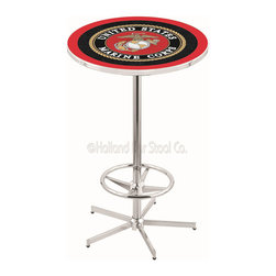 Holland Bar Stool - Holland Bar Stool L216 - 42 Inch Chrome U.S. Marines Pub Table - L216 - 42 Inch Chrome U.S. Marines Pub Table  belongs to Military Collection by Holland Bar Stool Made for the ultimate sports fan, impress your buddies with this knockout from Holland Bar Stool. This L216 U.S. Marines table with retro inspried base provides a quality piece to for your Man Cave. You can't find a higher quality logo table on the market. The plating grade steel used to build the frame ensures it will withstand the abuse of the rowdiest of friends for years to come. The structure is triple chrome plated to ensure a rich, sleek, long lasting finish. If you're finishing your bar or game room, do it right with a table from Holland Bar Stool.  Pub Table (1)