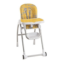 Evenflo - Modern High Chair - Features: -High chair. -Easy smooth surfaces easy wipe clean dishwasher safe removable tray can be stored on back of chair. - Adjusts to ensure comfortable fit 3 position recline 6 height adjustments 4 positions tray. -Integrated 5 point harness hold child in place up to 40 lbs.