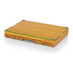 Picnic Time - Picnic Time Concerto Glass-Top Cutting Board - Natural Wood Multicolor - 919-00- - Shop for Cutting Boards from Hayneedle.com! If you plan on moving anytime soon the Picnic Time Concerto Glass-Top Cutting Board - Natural Wood is the kind of piece that you put in the front seat of your car instead of packing it away in the back. When you get where you're going you just need to break out this complete set and your first meal or inaugural picnic is ready to go. The solid body of bamboo serves as a wide cutting board with a juice groove but it's also home for the glass cutting board of footed and tempered glass. A discrete drawer pulls out and you've got a matching set of utensils that include a cheese knife cheese chisel and fork. The food-safe finish highlights the beauty of the wood. About Picnic TimeEven the name makes you smile! Since 1982 Picnic Time's mission has been to sell traditional European-style picnic baskets in America that everyone could afford. The company has continued to develop innovative and practical outdoor leisure products that inspire relaxation with friends and family. With a product line that continues to develop far beyond the traditional picnic basket (though theirs are the finest picnic baskets around!) Picnic Time will take you to the beach the country the mountains ... or best of all your own backyard.