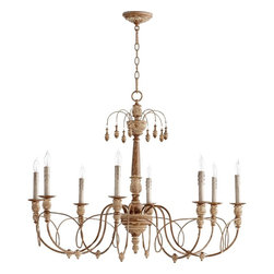 Quorum Lighting - Quorum Lighting Salento Traditional Chandelier X-49-8-6016 - Delicate curves are adorned with intricate knob accents to create a feminine and elegant feel to this Quorum Lighting Chandelier. The Italian influencing is complimented by a French Umber finish, which highlights the intricate detailing. This beautifully detailed fixture also features an upper tier of hanging finials, which creates a larger and more grand feel.