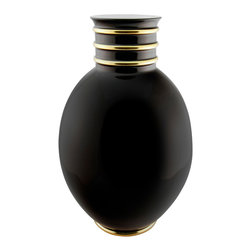 Maison Alma - Arienne Egg Vase, Black & 24k Gold - This graceful porcelain vase was handcrafted in Portugal in the traditional Limoges style. The lustrous glaze is accented by bands of 24-karat gold or platinum at the throat and base, adding an extra touch of luxury.