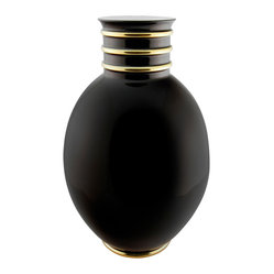 Arienne Egg Vase, Black & 24k Gold