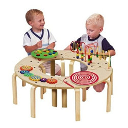 Anatex Mini Circle of Fun Activity Table - Sometimes when it comes to an appealing toy kids won't share - but with Anatex's Circle of Fun Activity Table sharing won't be a problem. Four interlocking benches (a puzzle of sorts themselves) form a fun-filled circle. The table boasts four of Anatex's award-winning games and toys: Caterpillar Pathfinder Magnetic Circle Express Gear Panel and Wire and Bead Maze. All focus on key problem-solving and imaginative play. The benches can be separated too for individualized play in classrooms waiting rooms and home play areas.