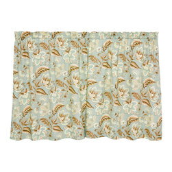 Ellis Curtain - Spa Jacobean Curtain Panel - Set of Two - Redecorate a room instantly with the simple addition of this chic and sensible curtain set. The floral design complements almost any aesthetic, and the thick fabric keeps light out and heat in when closed. �� Valance not included Includes two tier panels 52% polyester / 48% cotton Machine wash Imported