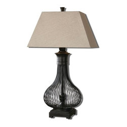 Carolyn Kinder - Carolyn Kinder Horatio Metal Cage Traditional Table Lamp X-88562 - Curved metal cage with a rustic black finish. The tapered rectangle hardback shade is an oatmeal linen fabric with natural slubbing.