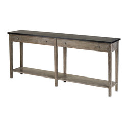 Currey & Co - Currey & Co 3036 Westrow Antique Ebony Console Linear Table - Those who are looking for a decorative side table that has a simple, yet classy design, may want to consider the Currey & Co 3036 Westrow Antique Ebony Console Linear Table. This table is made from Acacia wood and has an antique ebony finish. It is old-school in style and perfect for any living room, family room, dining room, entrance or outdoor porch with a rustic or antique style.