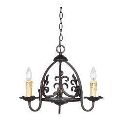 Cal Lighting - Cal Lighting FX-3509/3 Bird Cage Iron 3 Light Single Tier Chandelier - Cal Lighting FX-3509/3 Bird Cage Iron 3 Light Single Tier ChandelierEmbellish your home d�cor with this impressive three light iron chandelier, featuring candelabra lights and curved accents.Cal Lighting FX-3509/3 Features: