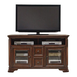 "Hooker Furniture - Haddon Hall 54"" Entertainment Console - White glove, in-home delivery included!  Old world charm comes shining through with the Haddon Hall collection.  Crafted with poplar solids and cathedral knotty cherry veneers it adds just the right touch to your home.  One center channel speaker area, two wood-framed beveled glass doors with one adjustable shelf behind each, two drawers, top drawer has removable CD/DVD dividers, one three plug outlet.  Each component area: 27 7/8"" w x 6"" h  Depth in front of partition for sound bar or central channel speaker: 9 1/8"" d"