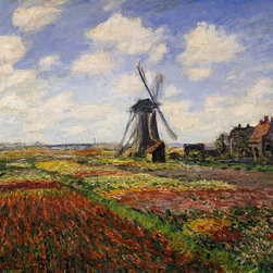 "Wallmonkeys Wall Decals - Fine Art Murals Tulip Fields with the Rijnsburg Windmill by Claude Monet  - 36"" - Easy to apply - simply peel and stick!"