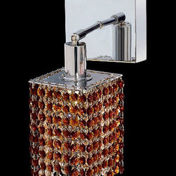 Elegant Lighting - Mini Square Chrome One-Light Bath Fixture with Royal Cut Topaz Brown Crystal and - Royal Cut crystal is a combination of high quality lead free machine cut and machine polished crystals and full-lead machined-cut crystals to meet a desirable showmanship of an authentic crystal light fixture.  -Recommended to be professionally hung and supported independently of the outlet box. Consult an electrician for guidance to determine the correct hanging procedure.  -Crystals may ship separately and some assembly is required.  -Depending on the size & design the assembly can be time consuming, but is well worth the effort. Elegant Lighting - 1281W-S-S-TO/RC