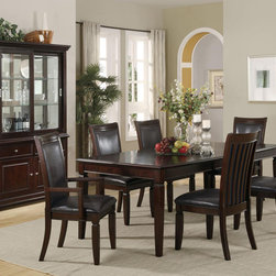 7 PC Walnut Wood Dining Room Set Table Chairs Leather Seat Coaster - Create a refined and formal dining experience with the Ramona collection. The selected dining pieces carry a walnut finish over birch veneers, tapered legs and separated-bracket chair backs, which all blend beautifully into your home decor. The elegant collection also features brown leather-like vinyl chair seats as well as silver knobs and handles.