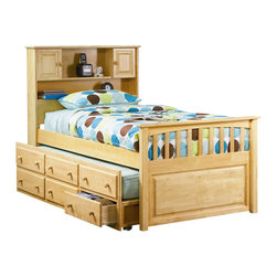 Atlantic Furniture - Atlantic Furniture Captain's Bookcase Bed with 3 Drawer Trundle in Natural Maple - Atlantic Furniture - Beds - AP8526035 - The Captain's Bookcase Bed offers an under bed trundle that includes 3 storage drawers. The head board features shelves and two cabinets.