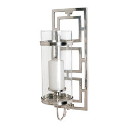 Kathy Kuo Home - Wilson Contemporary Polished Nickel Rectangle Hurricane Sconce - Sometimes, more really is more - especially when it comes to modern chrome-effect hurricane sconces like this piece.  Finished in a polished nickel and set behind a classic glass hurricane, the real beauty is what lies behind - a frame of metal which adds a decadent touch. Perfect for bathrooms and other areas where luxury is living!
