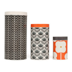 "Orla Kiely - Tins and Canisters, Set of 3 - Set of 3 canisters, each featuring a signature Orla Kiely print. Made of aluminum. Handwash or wipe clean. Measures: 5.5"" diameter X 10""h, 4.2"" diameter X 7.9"" h, 3.3"" diameter x 5.1"" h"